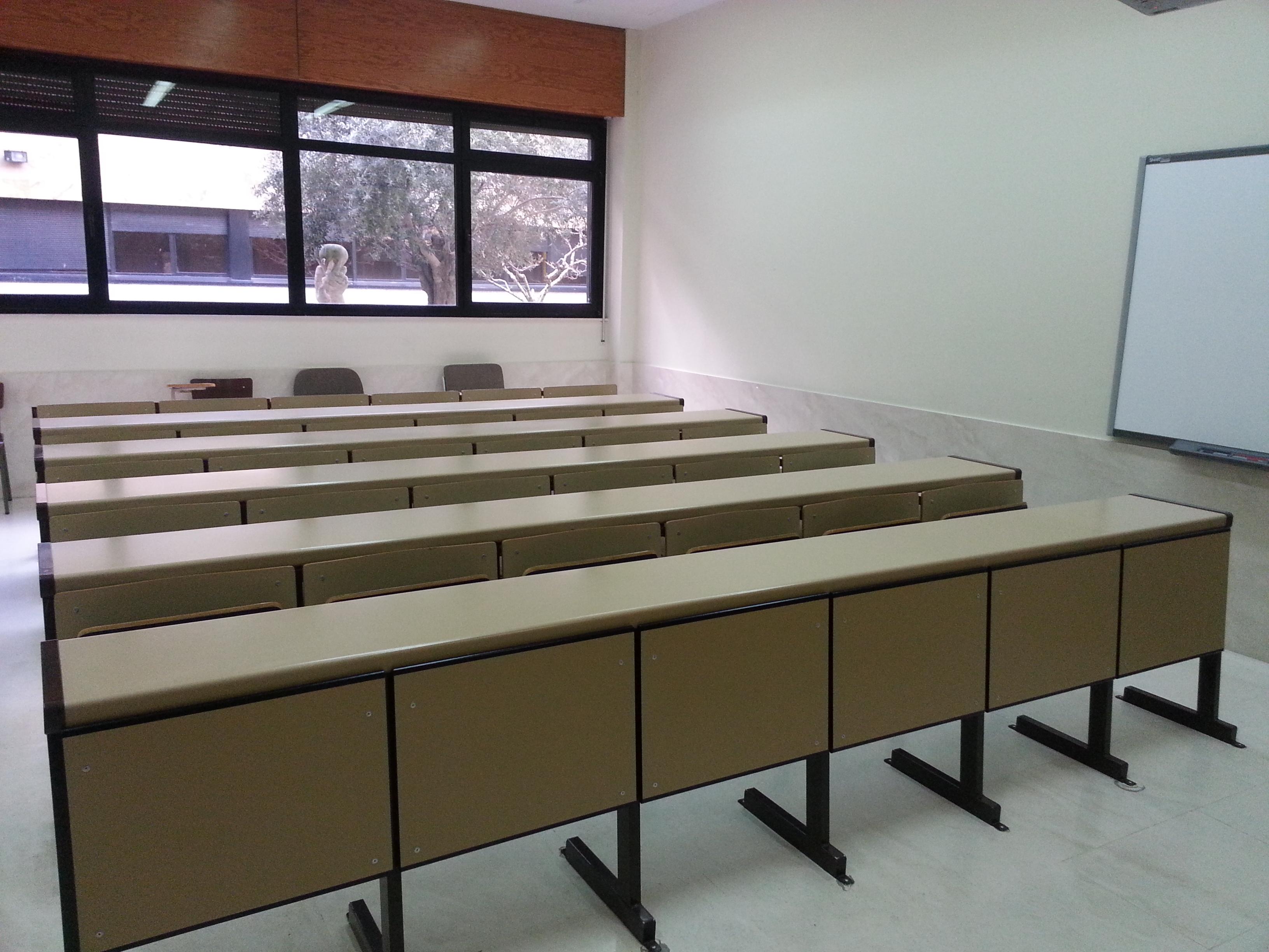 Aulas vacías en la Facultad de Filosofía
